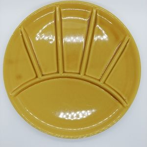 Vintage Yellow Divided Fondue Plate/Sushi Platter